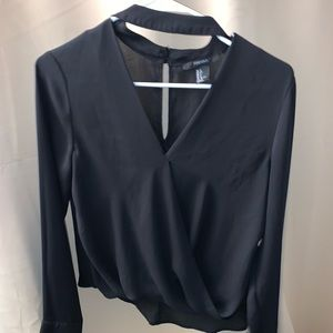 Black blouse with neck choker